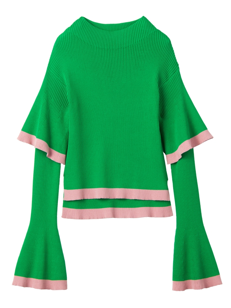 【9月新作】DOUBLE BELL SLEEVE KNIT TOP(グリーン-F)