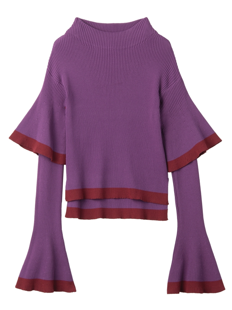 【9月新作】DOUBLE BELL SLEEVE KNIT TOP(パープル-F)