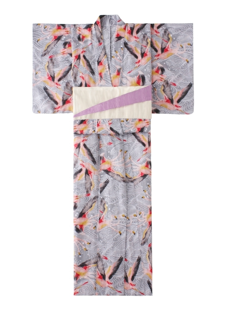 THREE HEADS FLAMINGO YUKATA(グレー-F)