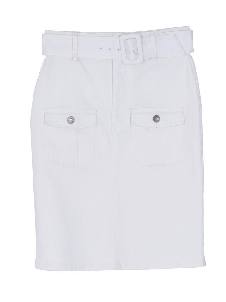 アウトポケットタイトデニムスカート(オフホワイト-S)