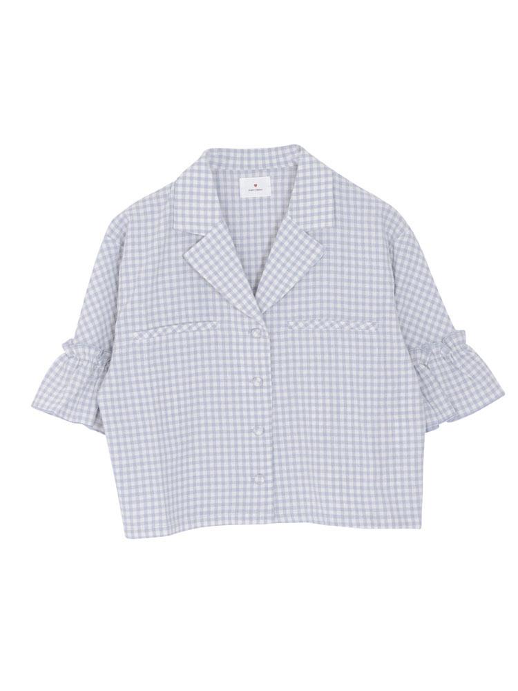 オープンカラーギンガムシャツ(グレー-F)