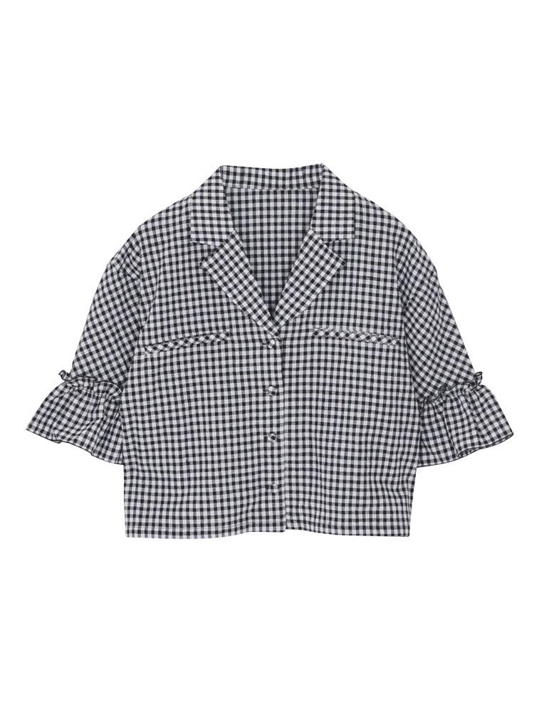 オープンカラーギンガムシャツ(ブラック-F)