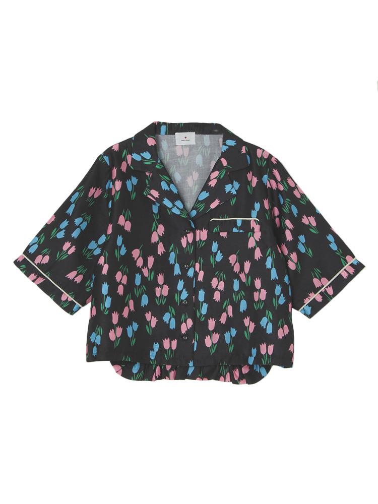 チューリップオープンカラーシャツ(ブラック-F)