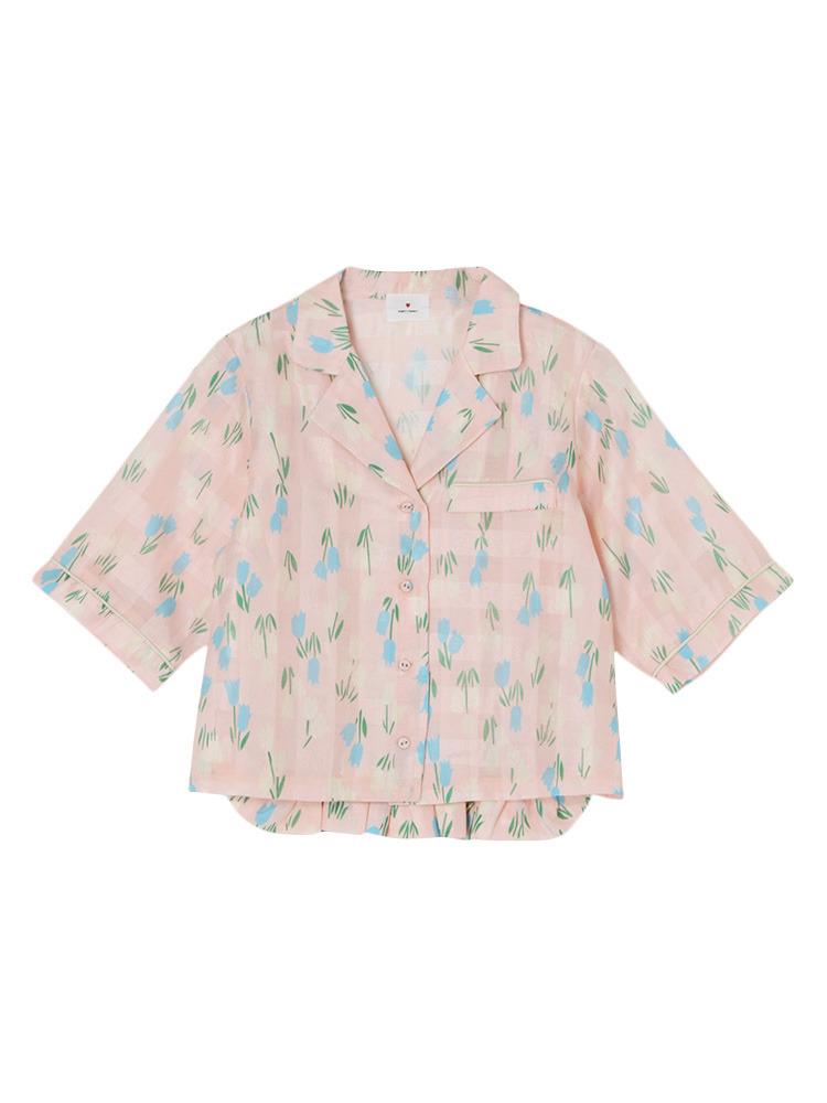 チューリップオープンカラーシャツ(ピンク-F)