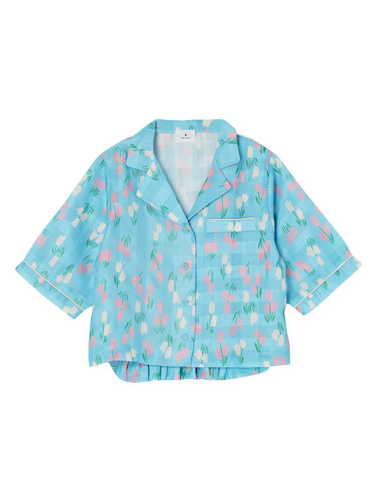 チューリップオープンカラーシャツ(ブルー-F)