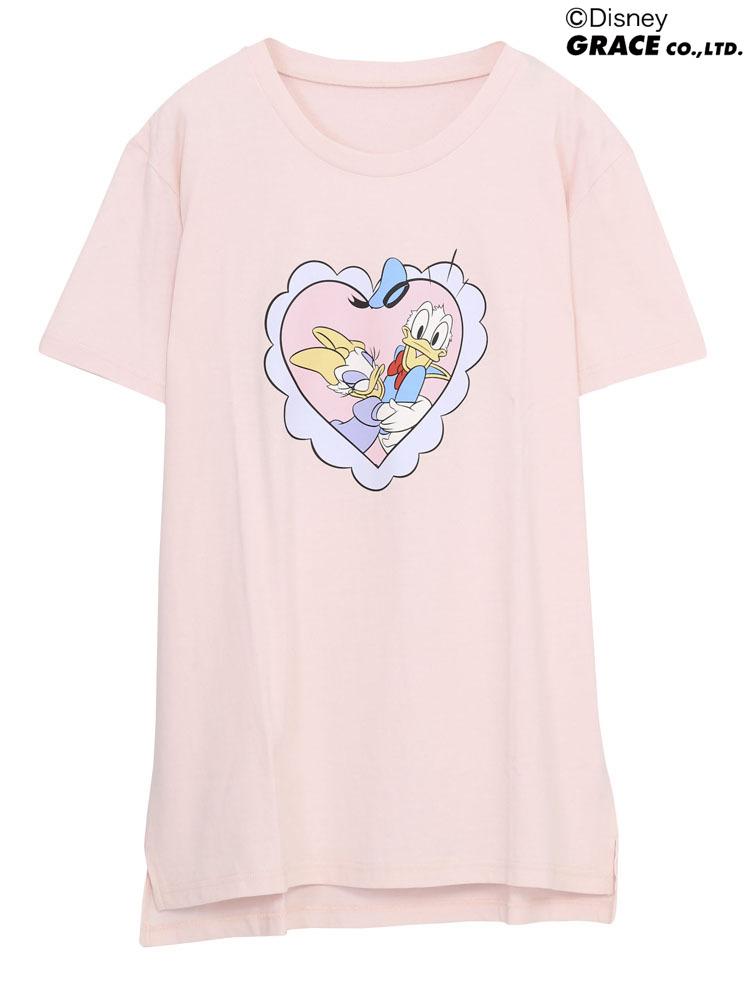 ハートフリルDONALD&DAISYTシャツ(ピンク-F)