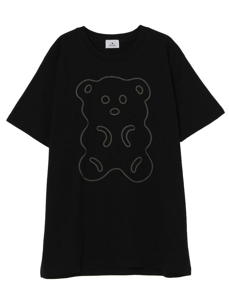 ふちどりくまさんTシャツ(ブラック-F)