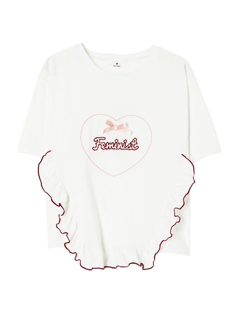 HeartFeministTシャツ(オフホワイト-F)