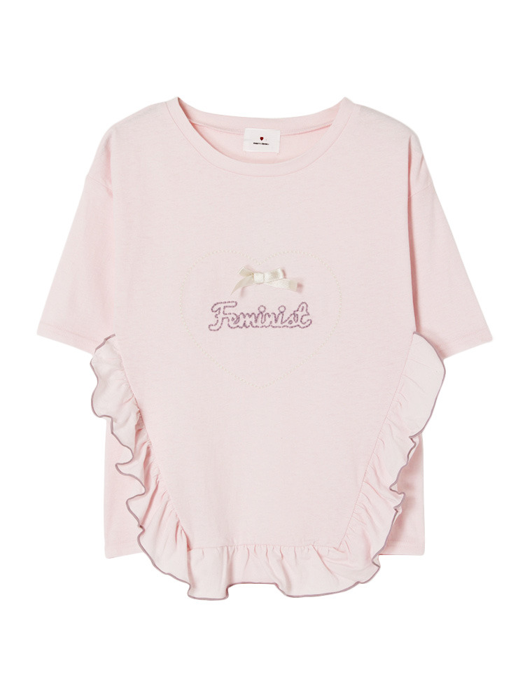 HeartFeministTシャツ(ピンク-F)