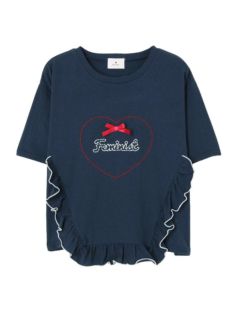 HeartFeministTシャツ(ネイビー-F)