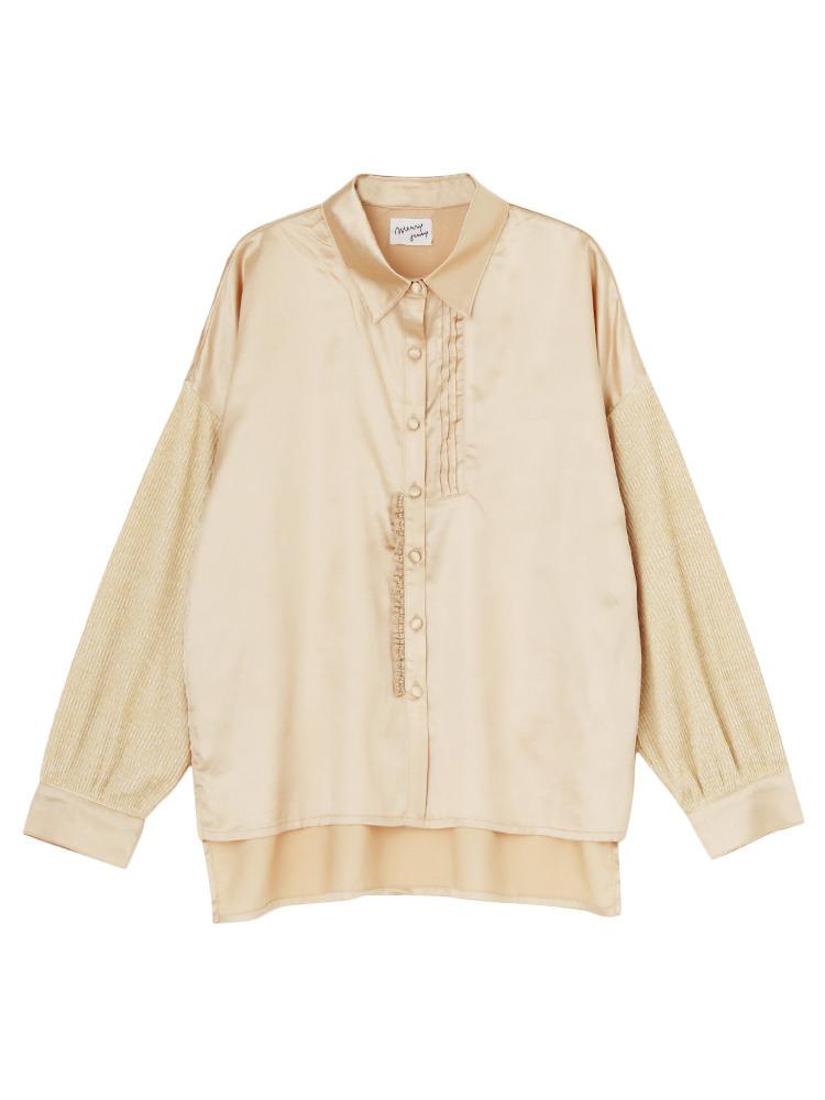 ニットドッキングシャツ(ベージュ-F)