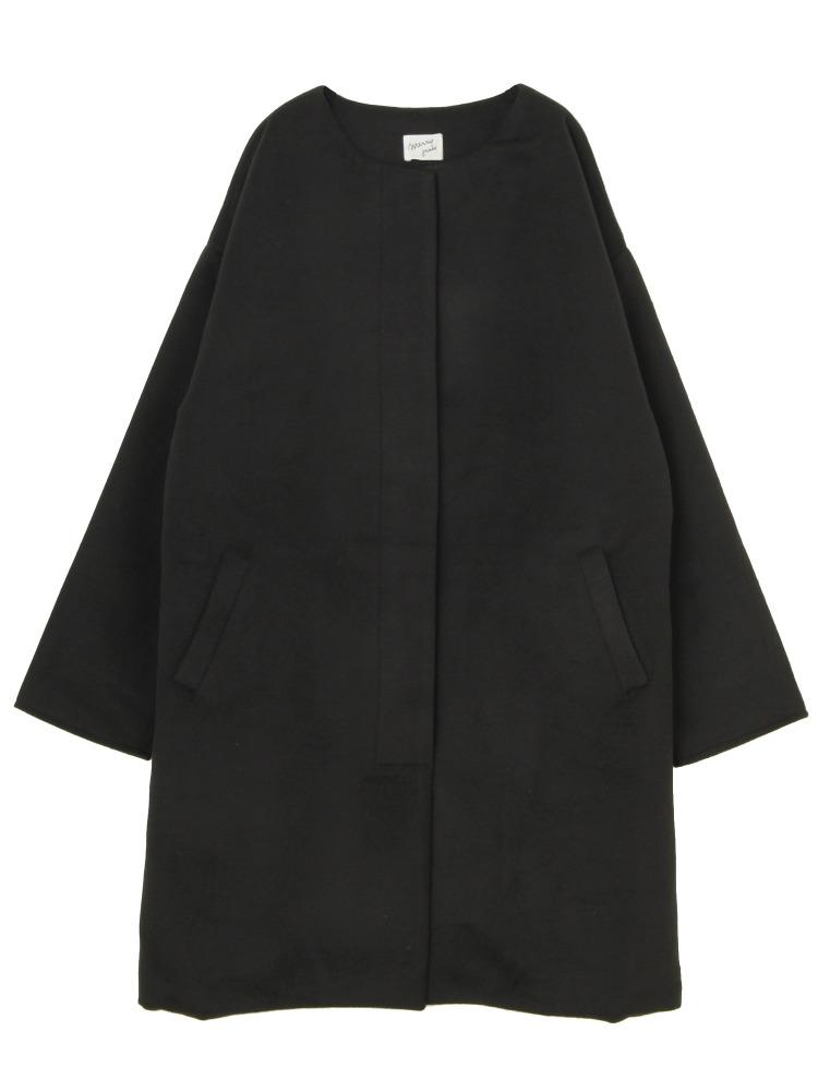 ブローチノーカラーコート(ブラック-F)