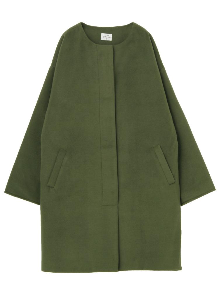 ブローチノーカラーコート(グリーン-F)