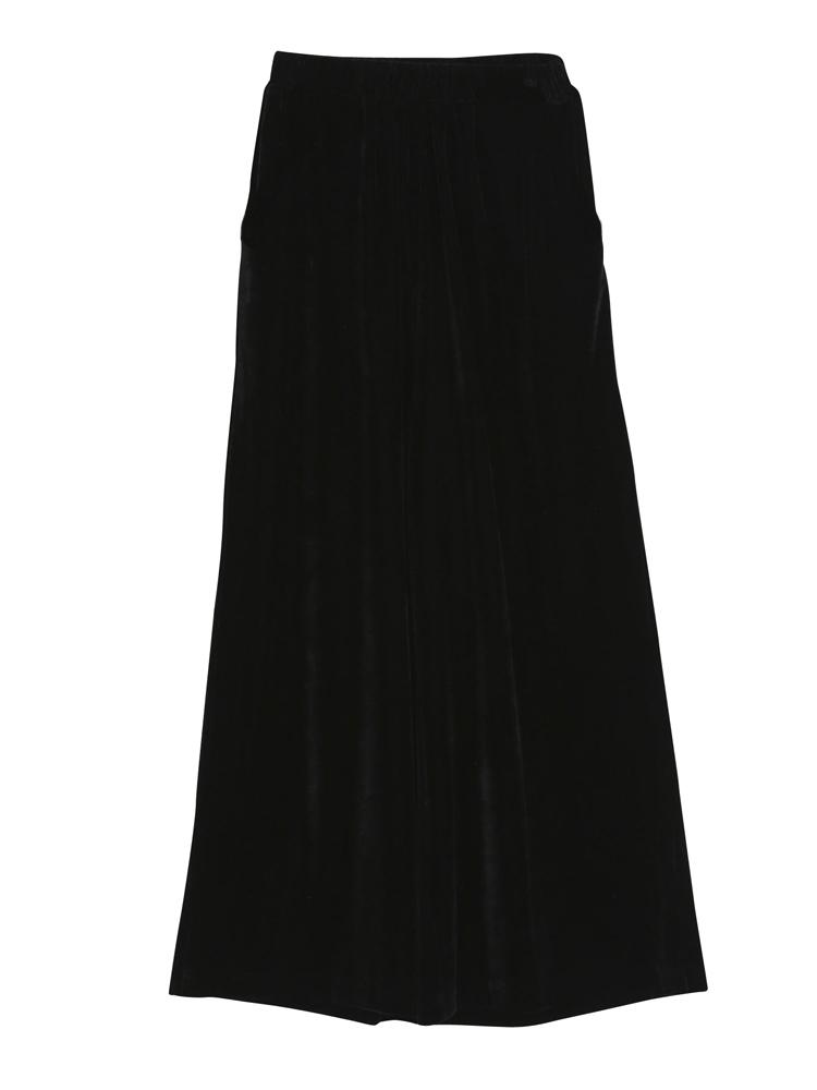 ベロアワイドパンツ(ブラック-F)