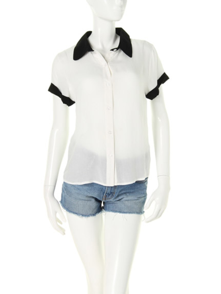 【elianegigi】バイカラーノースリシャツ(オフホワイト-F)