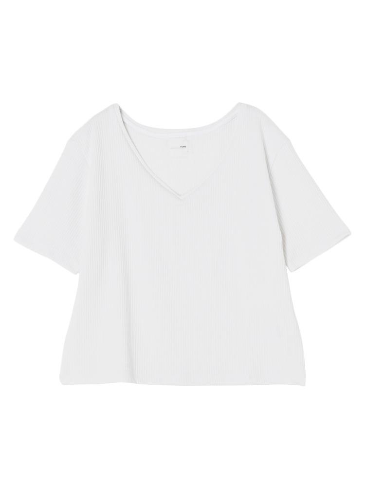 リブVネックTシャツ(ホワイト-F)
