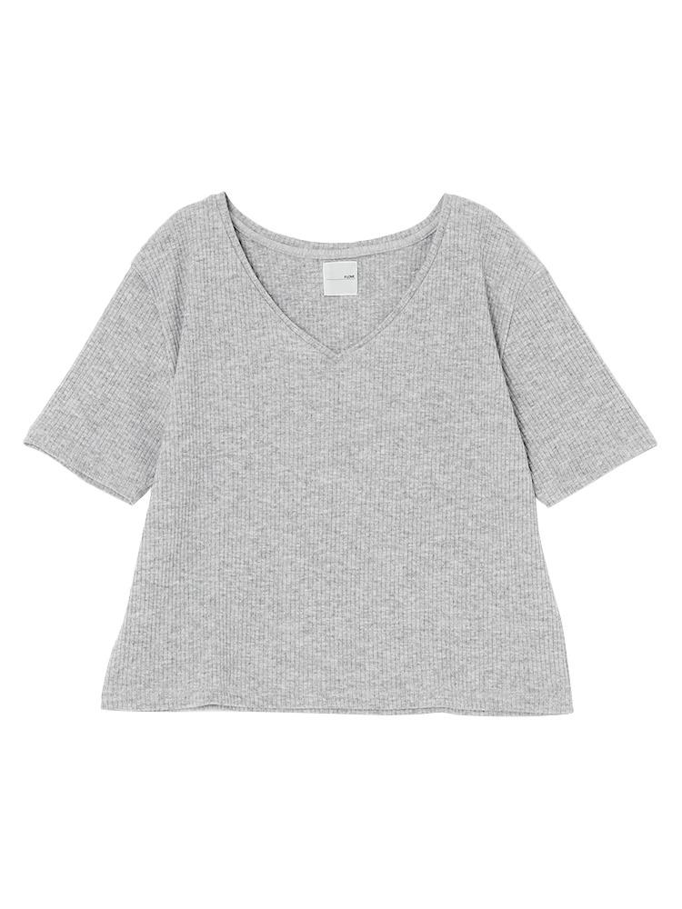 リブVネックTシャツ(グレー-F)