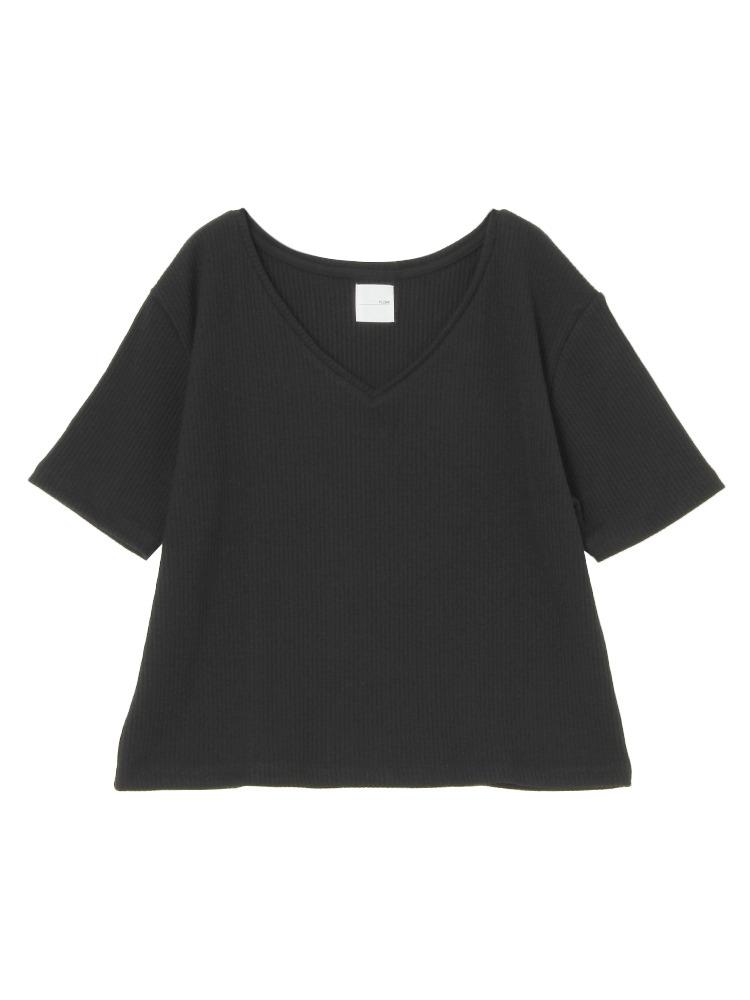 リブVネックTシャツ(ブラック-F)