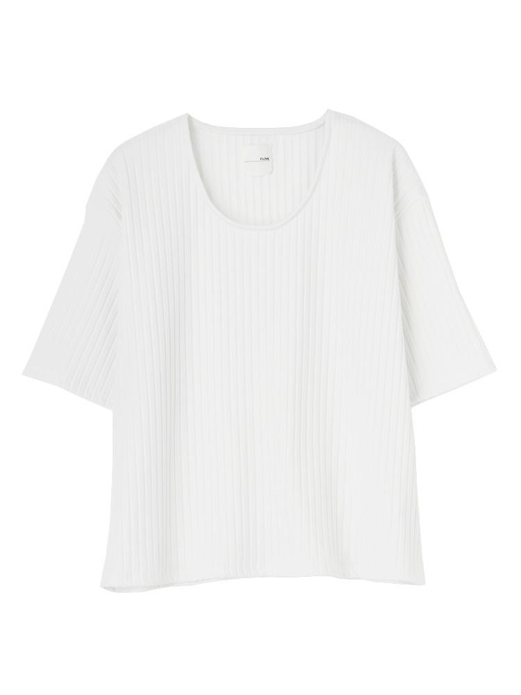 リブUネックTシャツ(ホワイト-F)