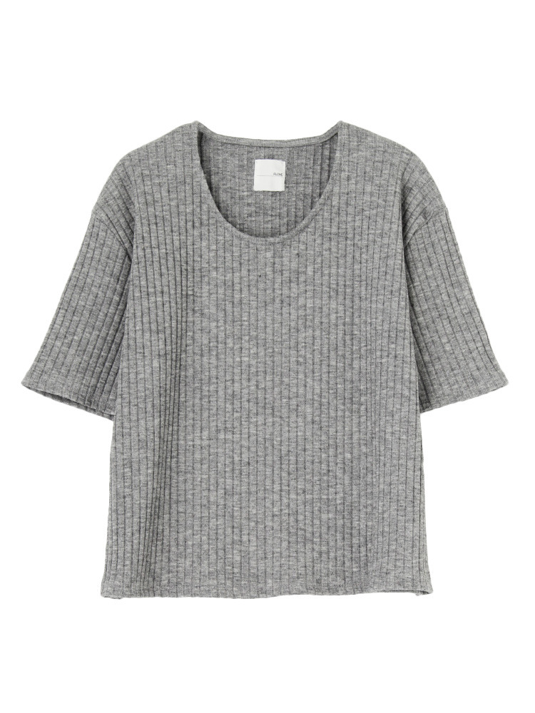 リブUネックTシャツ(グレー-F)