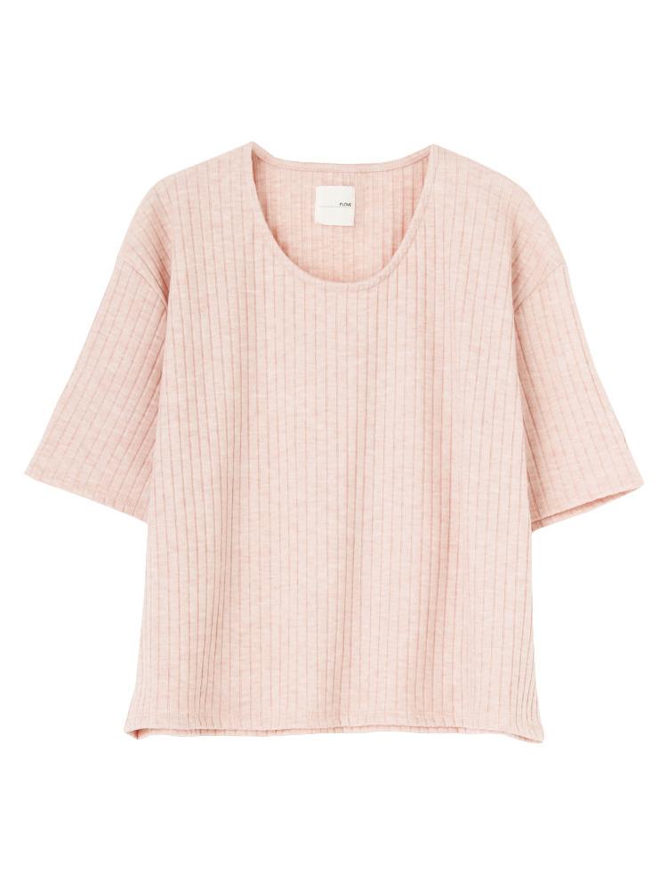 リブUネックTシャツ(ベビーピンク-F)