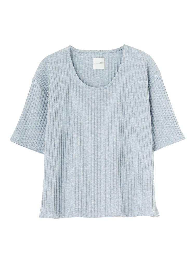 リブUネックTシャツ(アイスブルー-F)