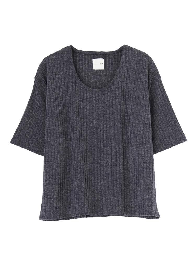 リブUネックTシャツ(ネイビー-F)