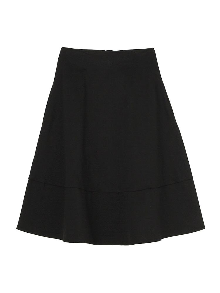 ピーチ起毛フレアースカート(ブラック-S)