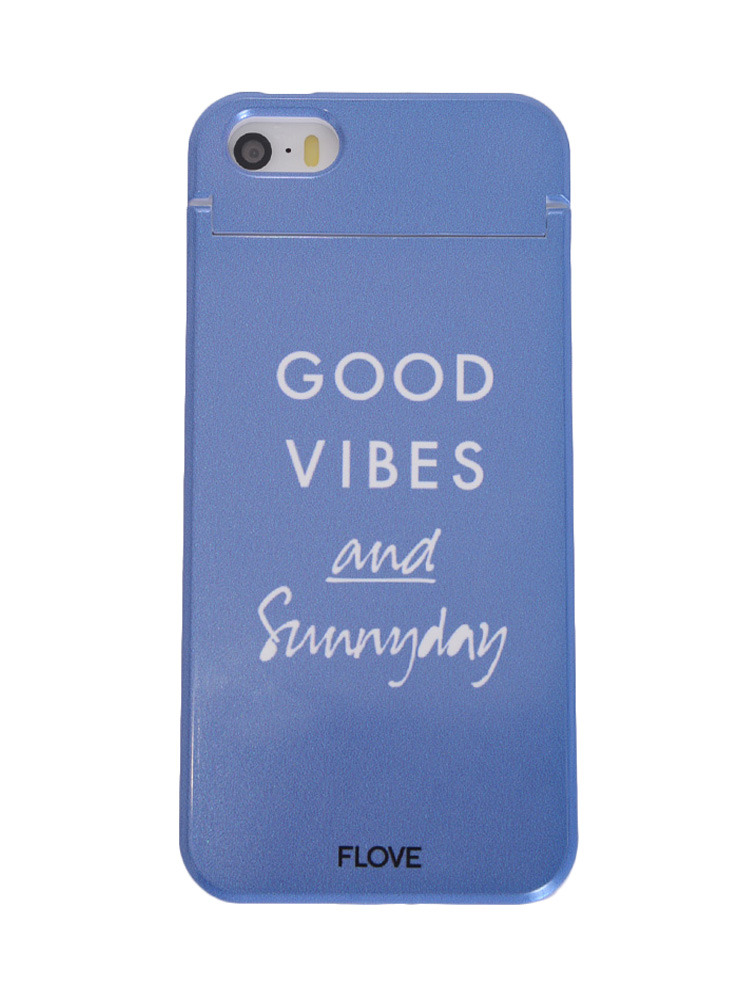 ≪5/5S/SE対応≫GOOD VIBES iphoneケース(ブルー-F)
