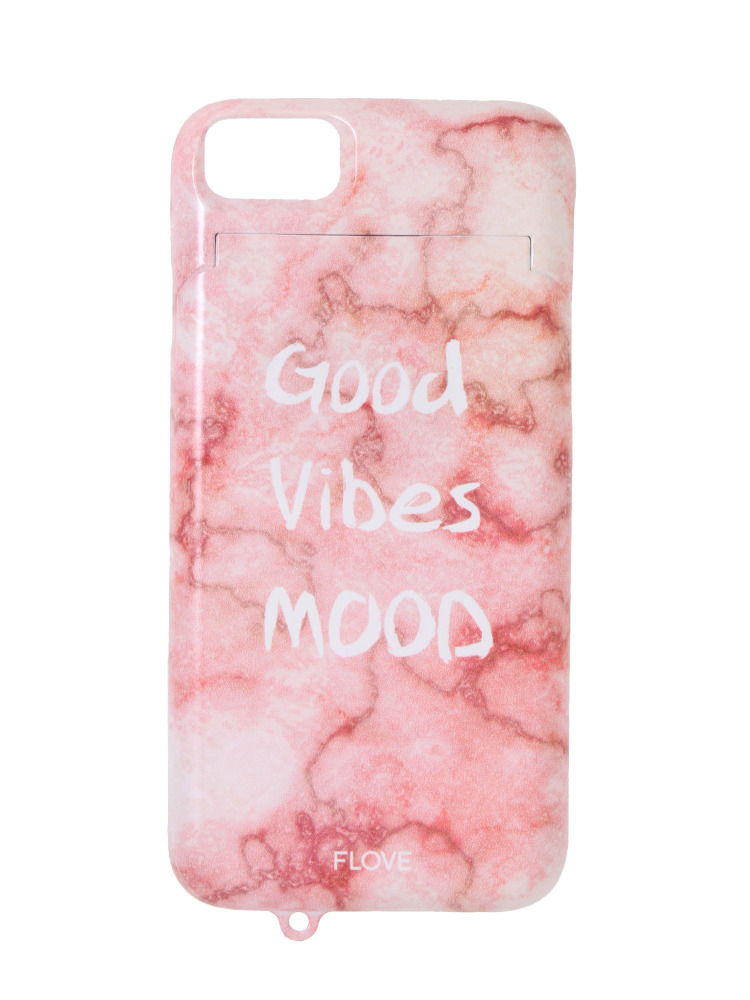 【iPhone6/6s/7】good vibes mood iPhoneケース(ピンク-F)
