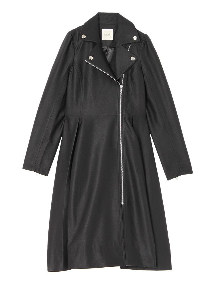 ライダースワンピースコート(ブラック-F)