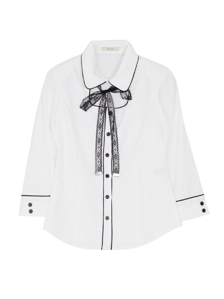 パイピングシャツ(オフホワイト-S)