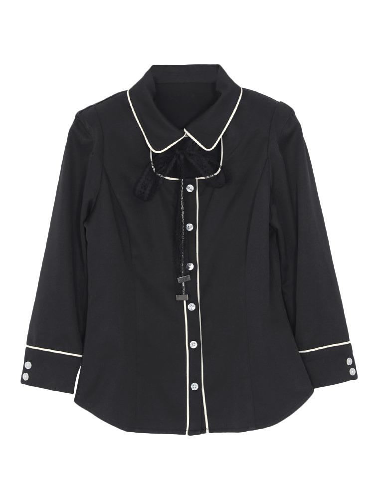 パイピングシャツ(ブラック-S)