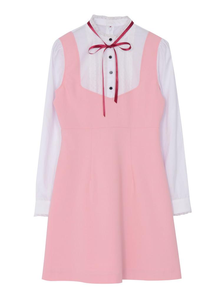 リボンシャツレイヤードワンピース(ピンク-S)