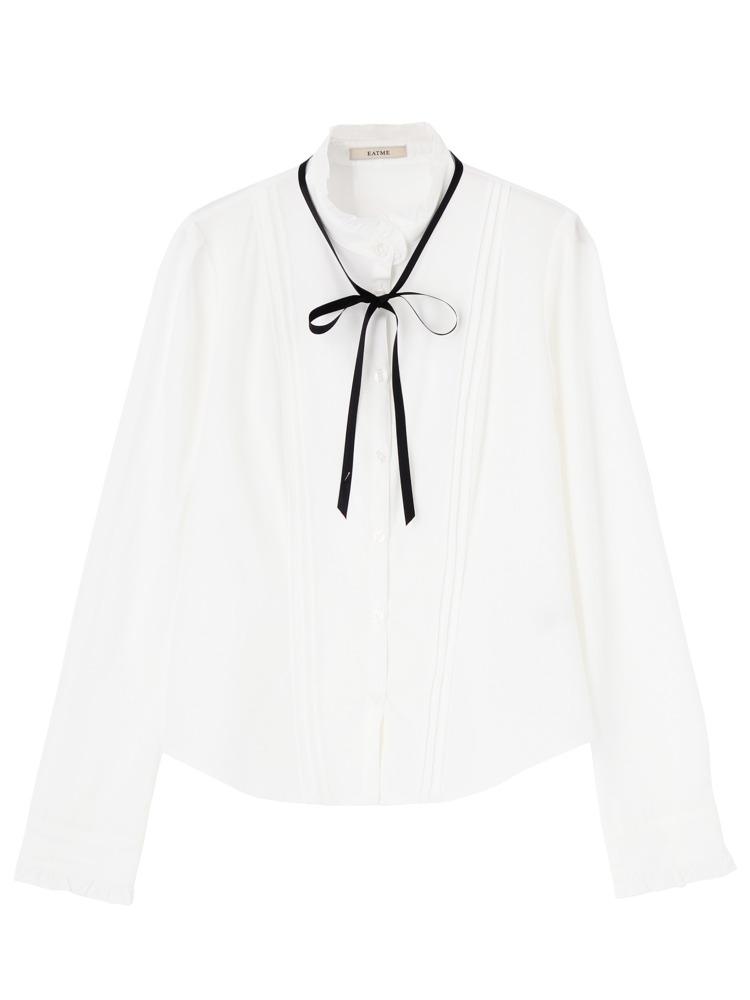 ピンタックbasicリボンシャツ(ホワイト-F)