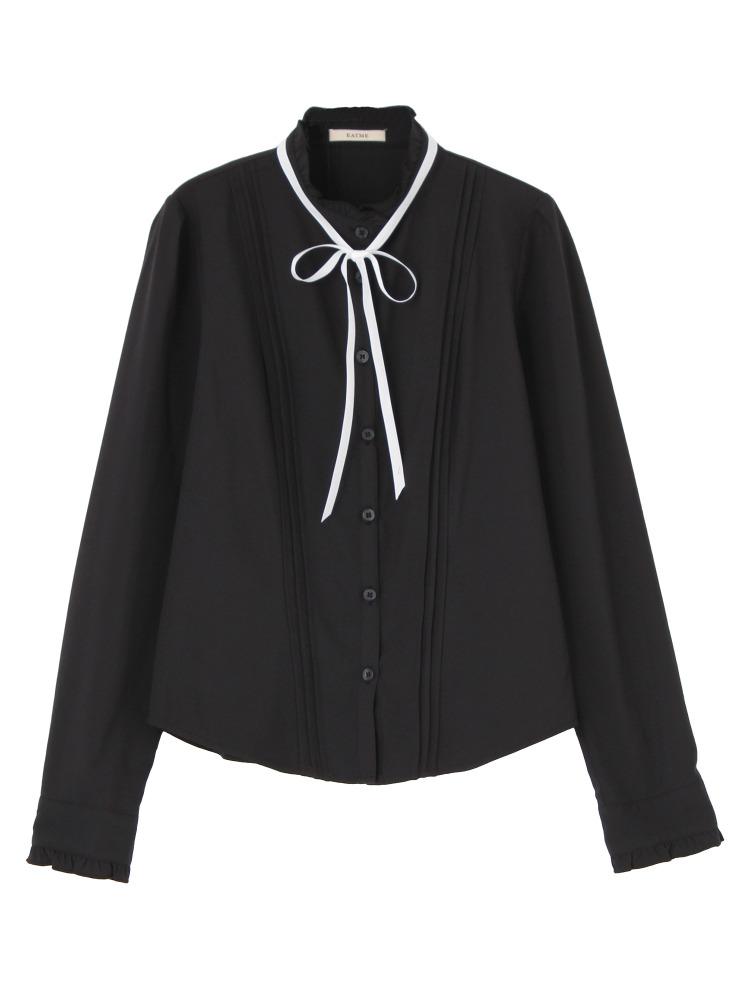 ピンタックbasicリボンシャツ(ブラック-F)