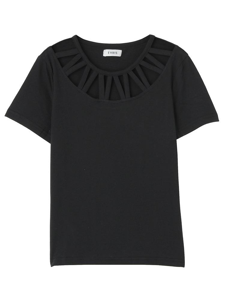 カットラウンドTシャツ(ブラック-F)
