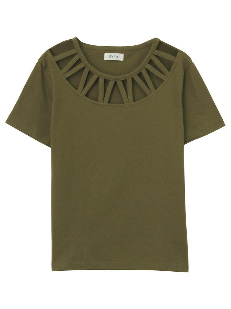 カットラウンドTシャツ(カーキ-F)