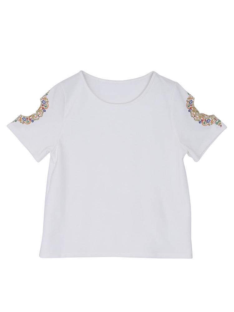 ショルダー刺繍Tシャツ(ホワイト-F)