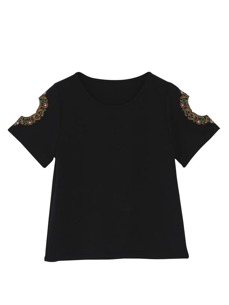 ショルダー刺繍Tシャツ(ブラック-F)