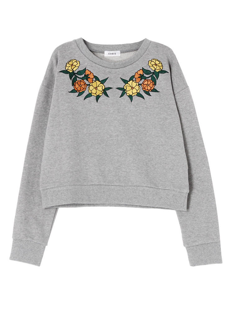 FLOWER embroideryプルオーバー(グレー-F)