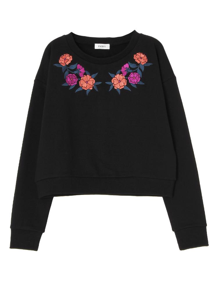 FLOWER embroideryプルオーバー(ブラック-F)