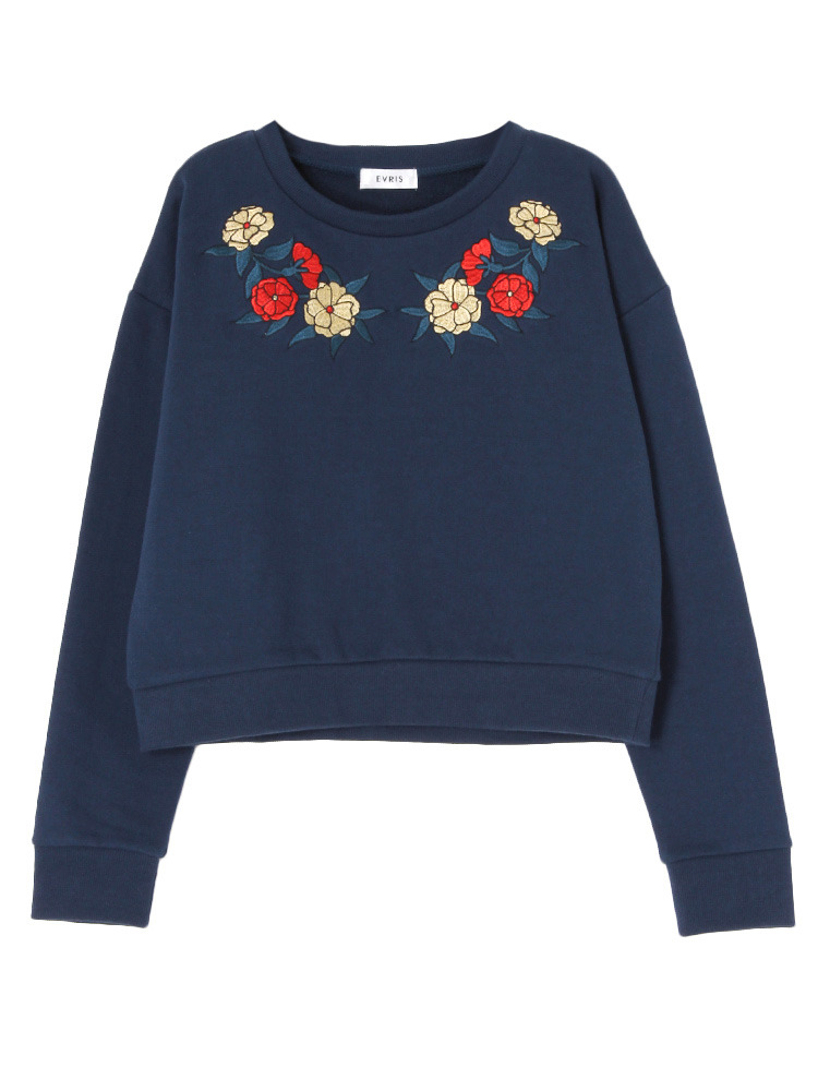 FLOWER embroideryプルオーバー(ネイビー-F)