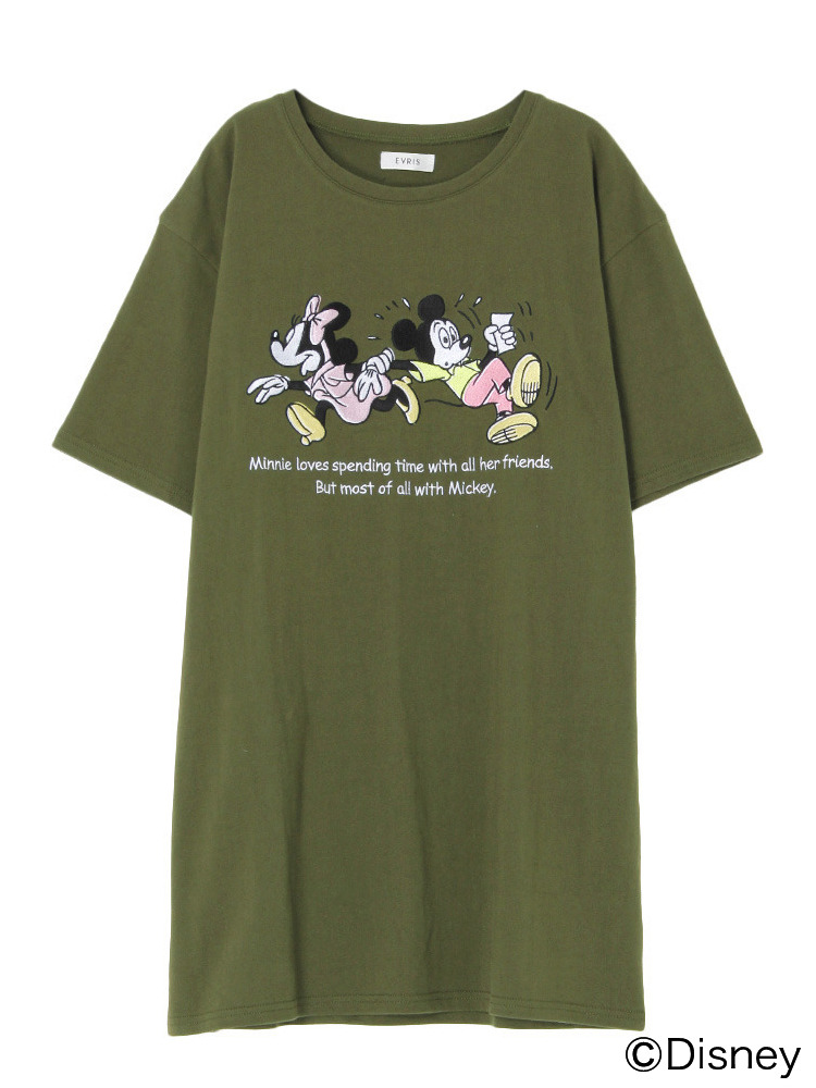 Disney embroidery Tシャツワンピ(カーキ-F)