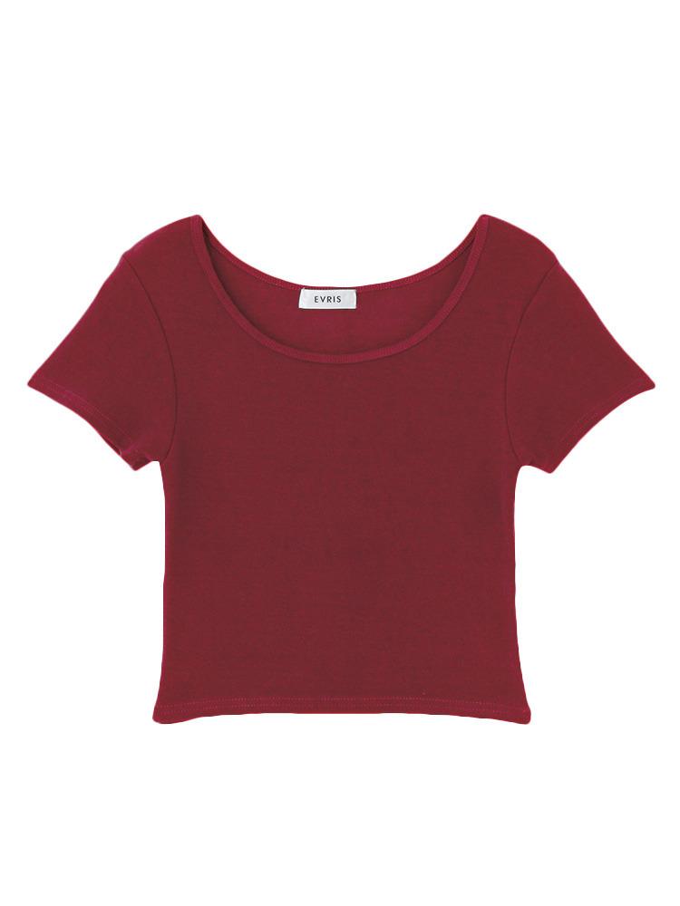 シンプルショートTシャツ(レッド-F)