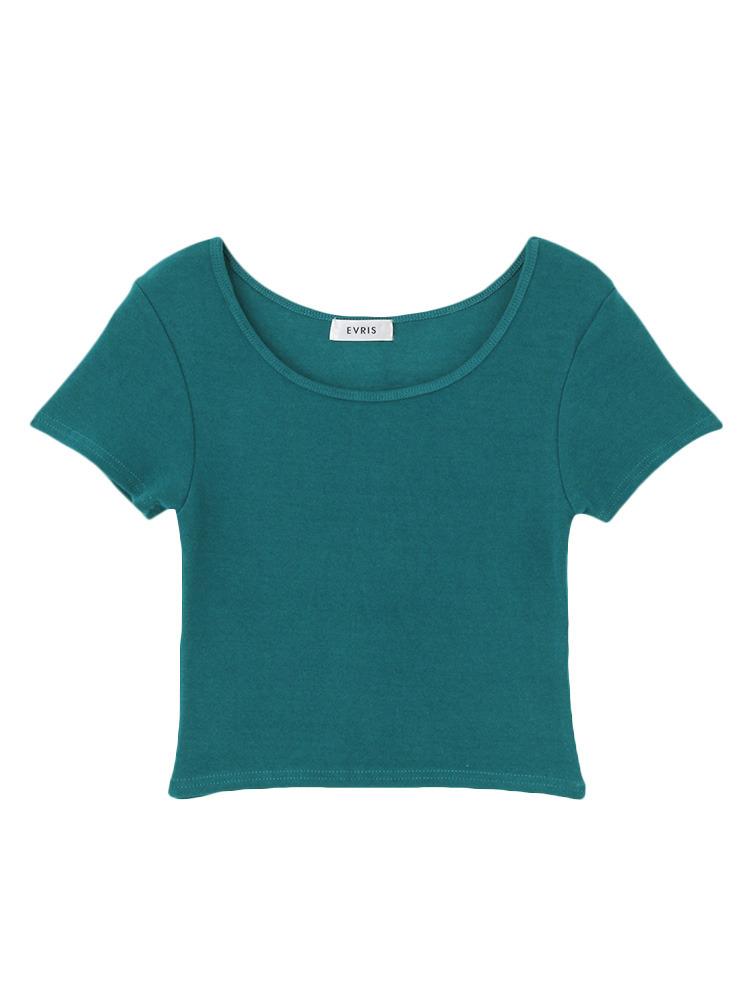 シンプルショートTシャツ(ブルー-F)