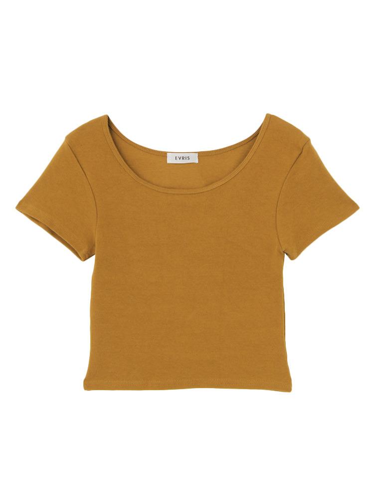 シンプルショートTシャツ(ブラウン-F)