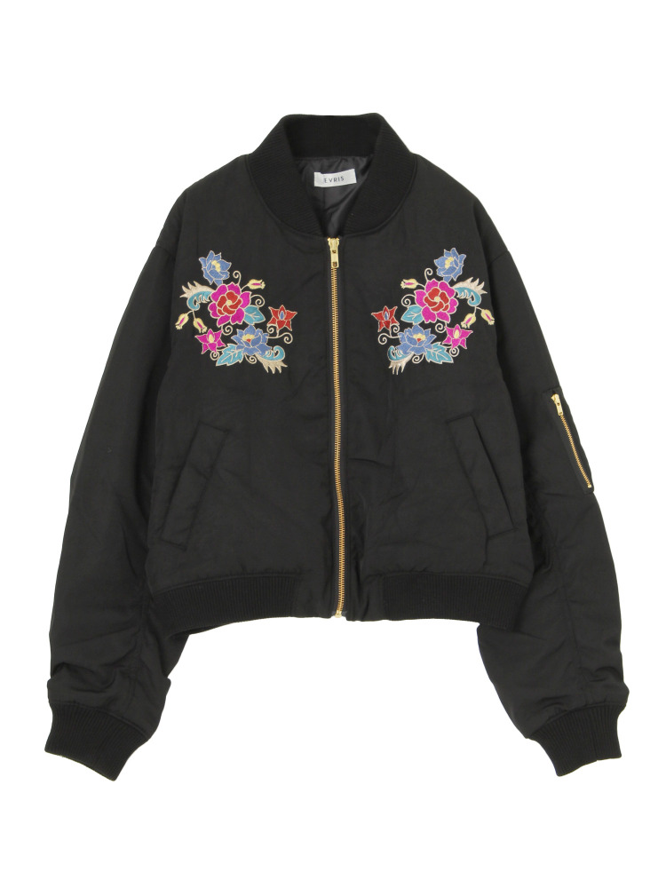 FLOWER刺繍MA-1(ブラック-F)