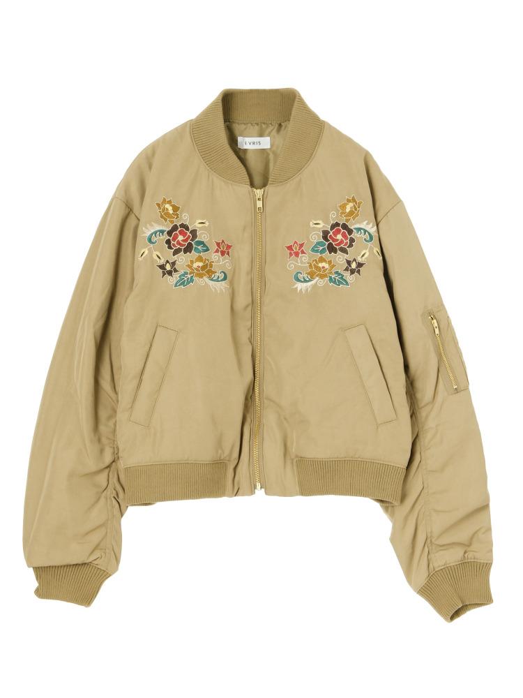 FLOWER刺繍MA-1(ベージュ-F)
