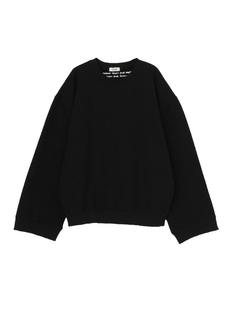 ロゴ刺繍クラッシュスウェットプルオーバー(ブラック-F)